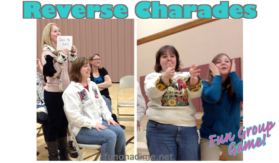 Reverse Charades - Fun Group Games - This one is Christmas themed but can easily be adjust to any theme or season. So much fun!!! There is a video demo too