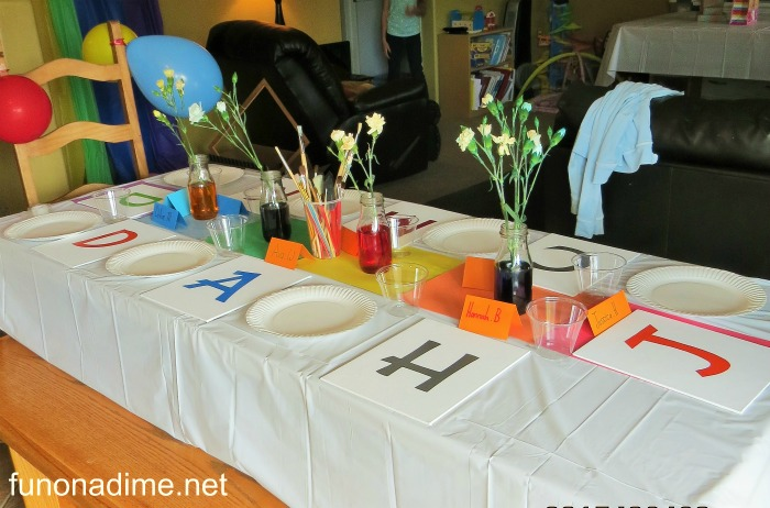 rainbow art party table