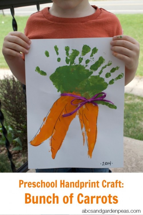 Preschool Hand Print Carrot Craft