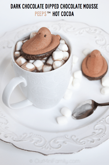 dark chocolate dipped chocolate mousse peeps hot cocoa