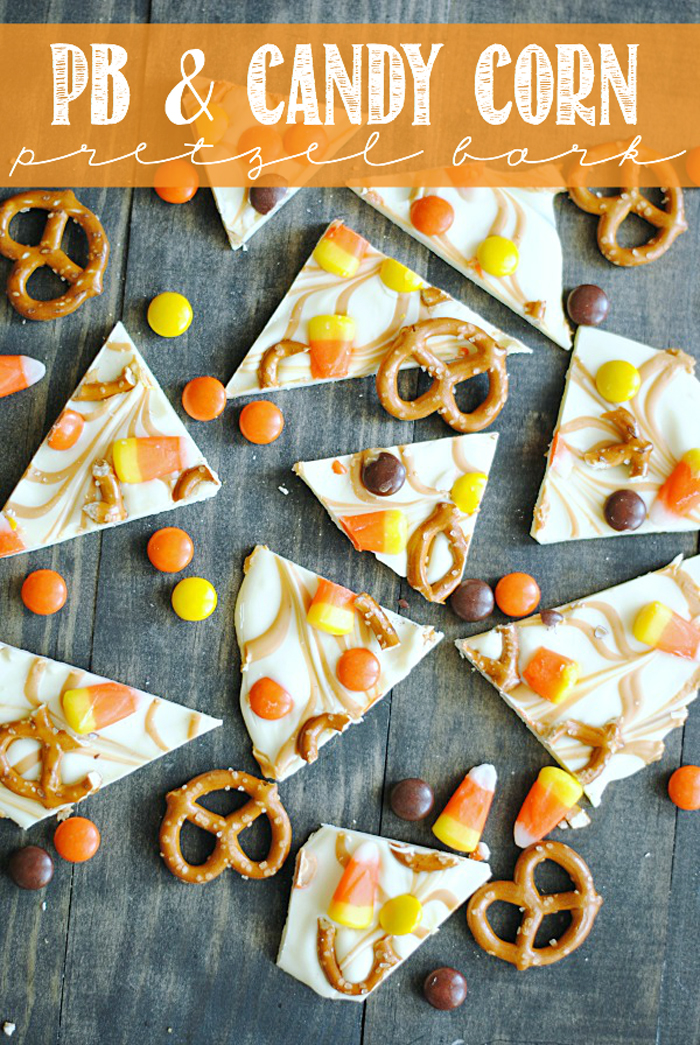 50+ Candy Corn Halloween Inspired Treats and Snacks - pb pretzel bar