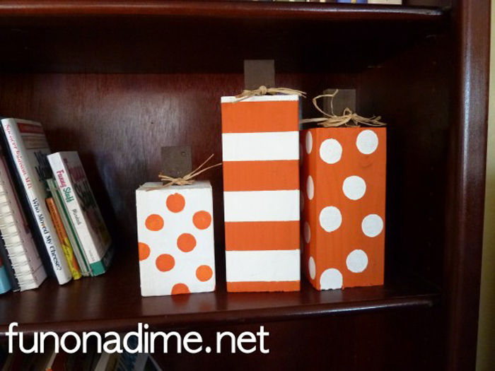 Cute Homemade Wood Pumpkin Blocks