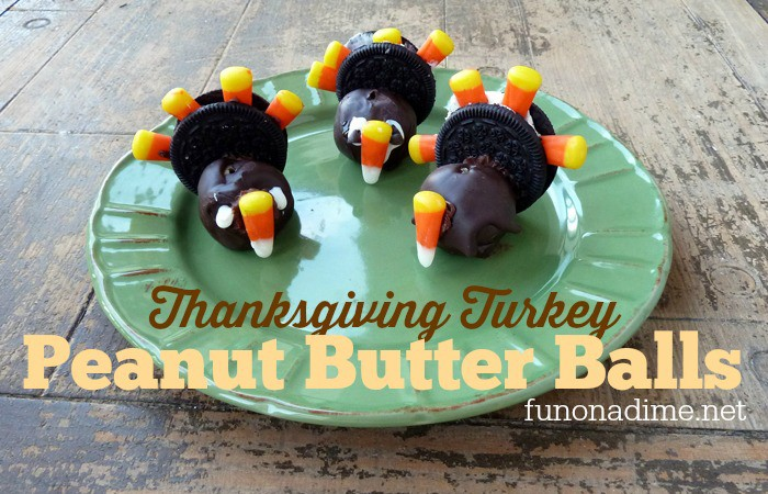 Thanksgiving Turkey Peanut Butter Balls - chocolate dipped goodness