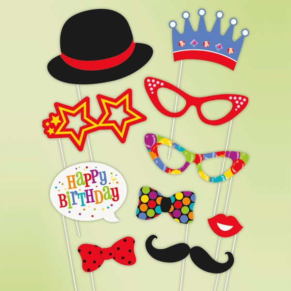 Confetti Birthday Photo Booth Props Fun Party Supplies