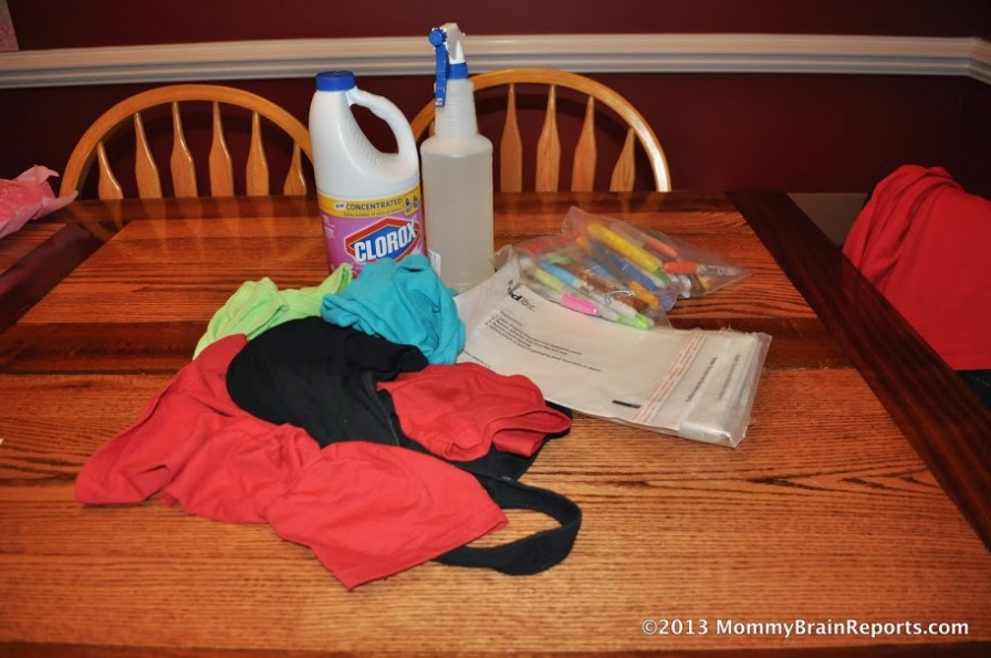 Supplies Needed: Shirts, Bleach/Water Mixture in Spray Bottle, Clear Plastic with Sticky Back