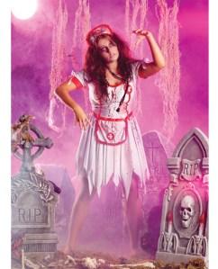 3 pc zombie nurse dress w/apron, hat & leg garter white