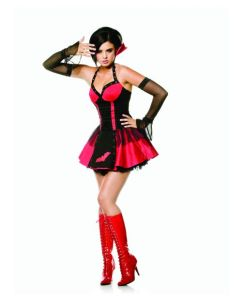 2 pc goth vampire halter dress w/attached collar & sleeves red
