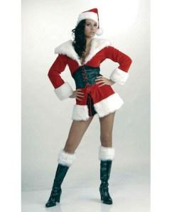 Short n' sweet Santa fur trimmed jacket w/attached corset & hat red