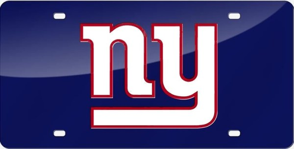 New York Giants NY Logo Blue NFL Laser License Plate Tag