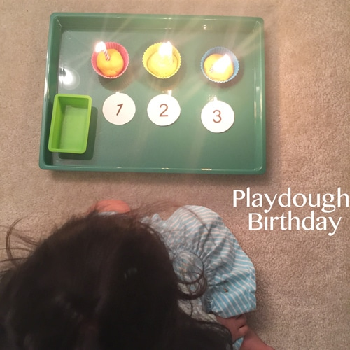 Here is a wonderful play dough activity for toddlers that will have them so excited to blow our their play dough birthday party candles at the end. What a fun reward!