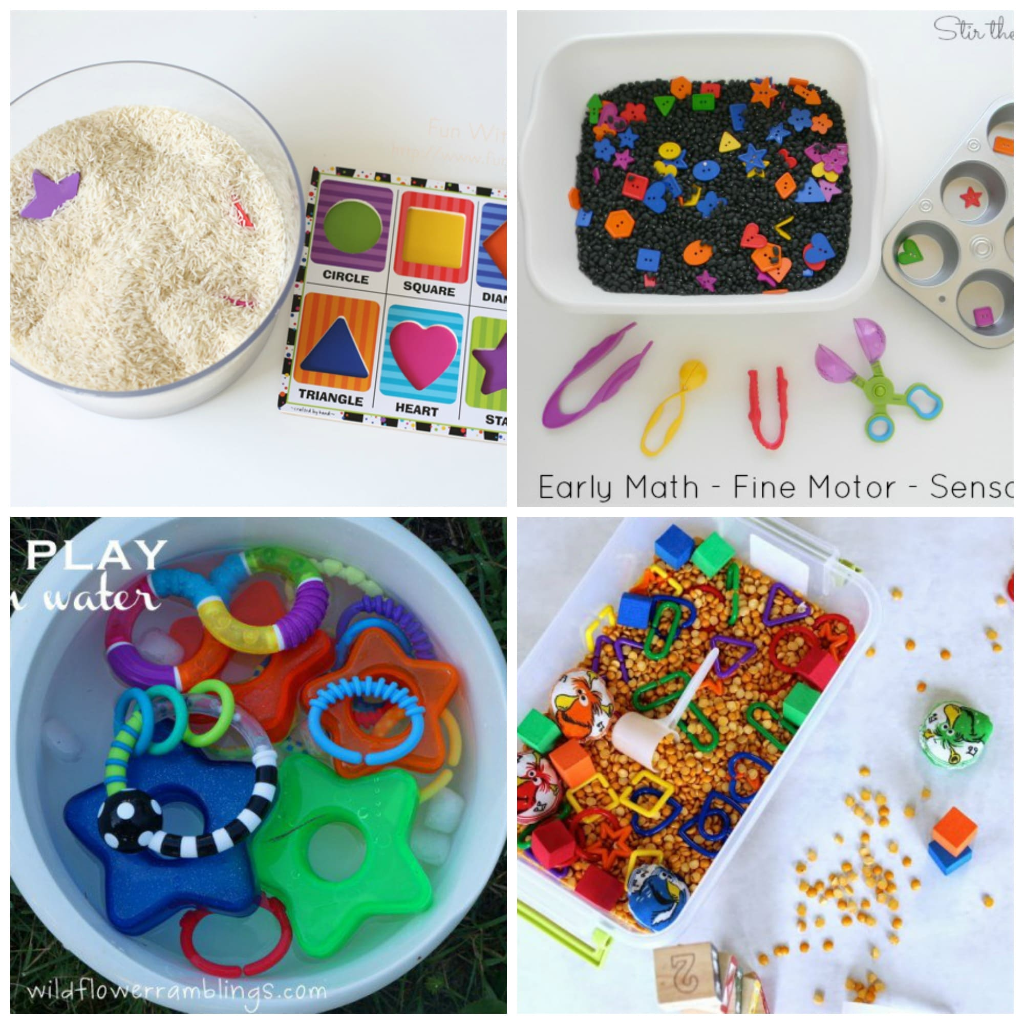 12 Shapes Preschool Sensory Bins