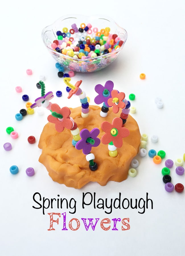 spring toddler fine motor play dough activity