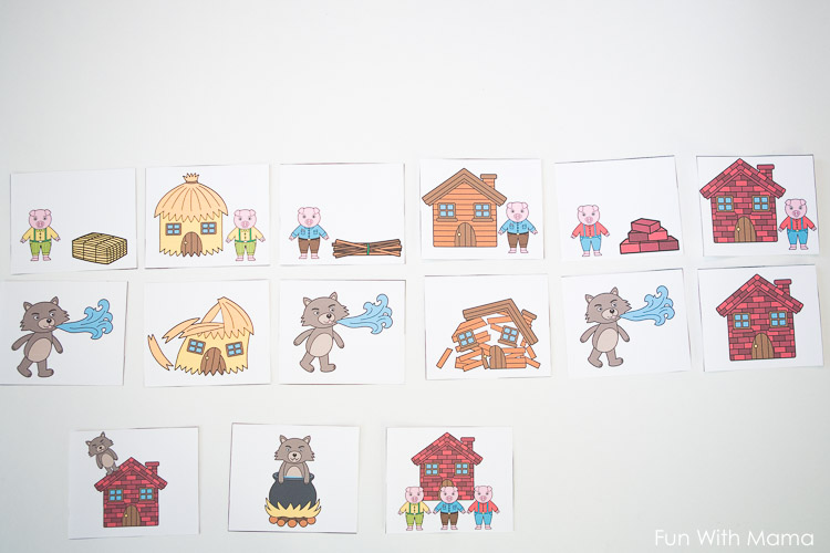 three little pigs sequencing cards fun with mama. Black Bedroom Furniture Sets. Home Design Ideas
