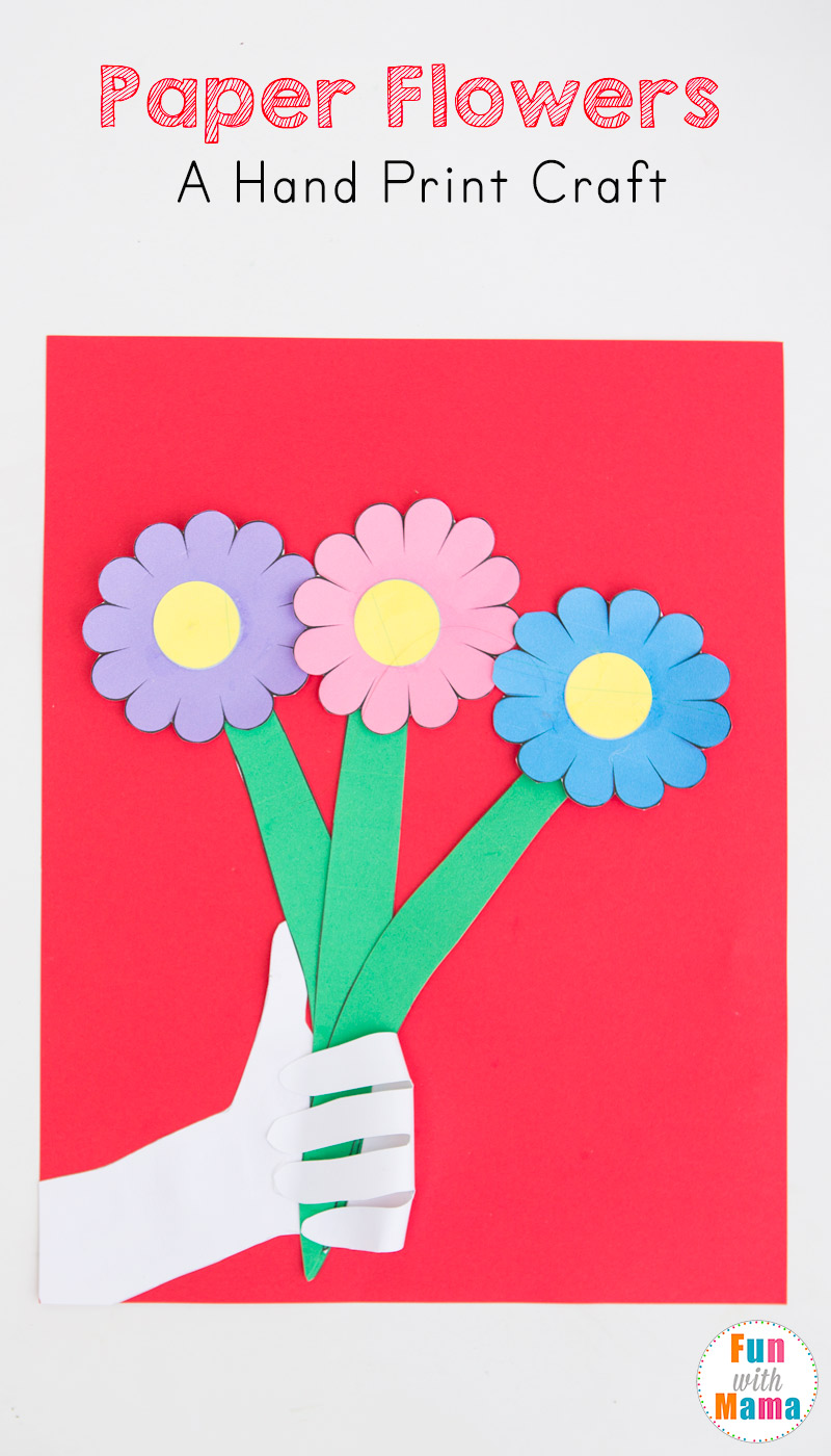 paper flowers craft preschool hand print activity