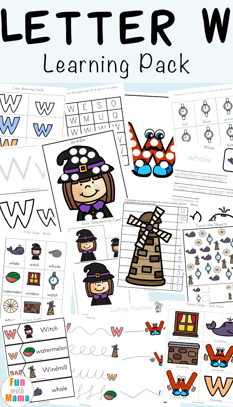 Letter W Worksheets For Preschool Kindergarten