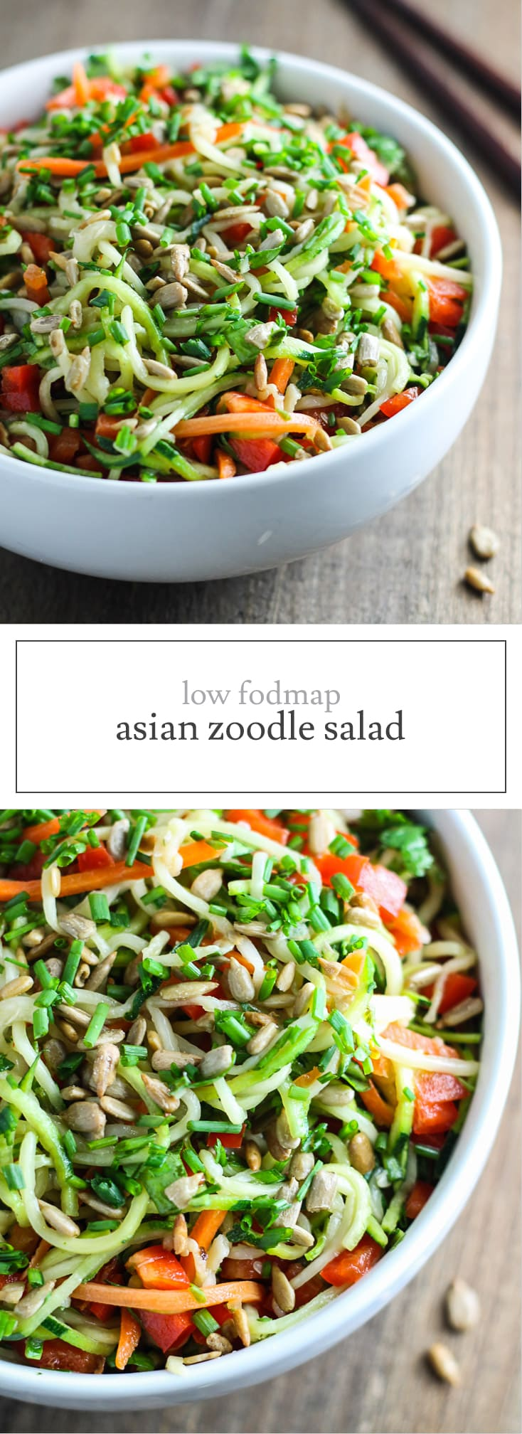 Fresh and colorful, this 10-minute Low FODMAP Asian Zoodle Salad is DE-lish! Make this fast and flavorful salad recipe for a light lunch or serve with shrimp for a quick supper.