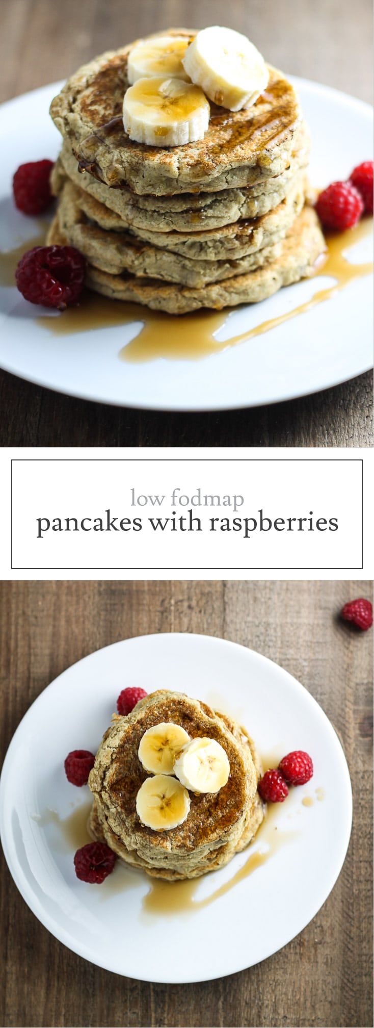 With only a handful of ingredients, these Low FODMAP Pancakes with Raspberries will quickly become a breakfast favorite!