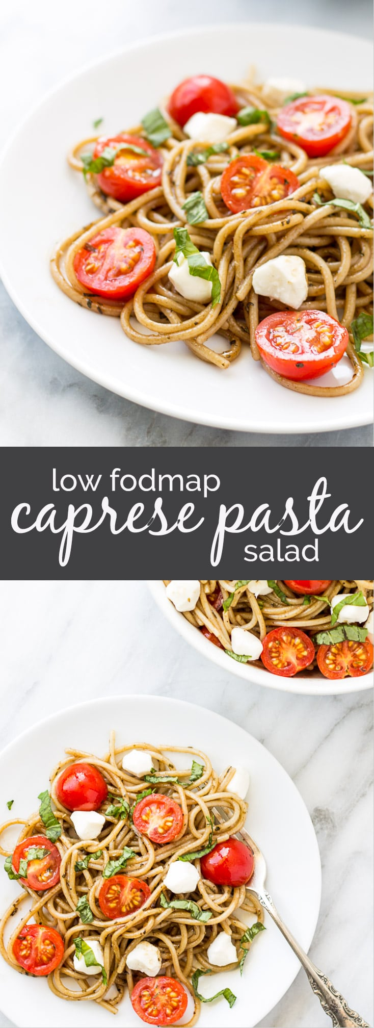 Filled with fresh ingredients and the classic combo of tomatoes, basil and balsamic, this Low Fodmap Caprese Pasta Salad just screams summer! Serve it warm or cold (how I prefer it), this is a quick gluten free pasta salad is easy to whip up for a light meal.