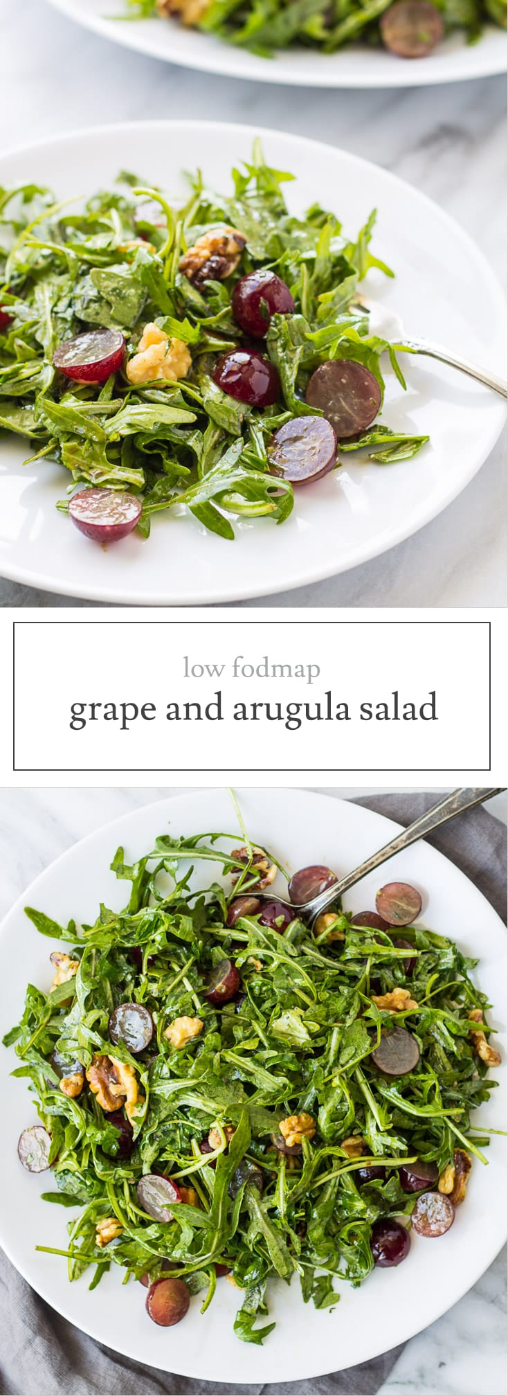 Low Fodmap Arugula Salad with Grapes is filled with peppery arugula, succulent red grapes, crunchy walnuts and a balsamic Dijon vinaigrette. An easy low fodmap recipe!