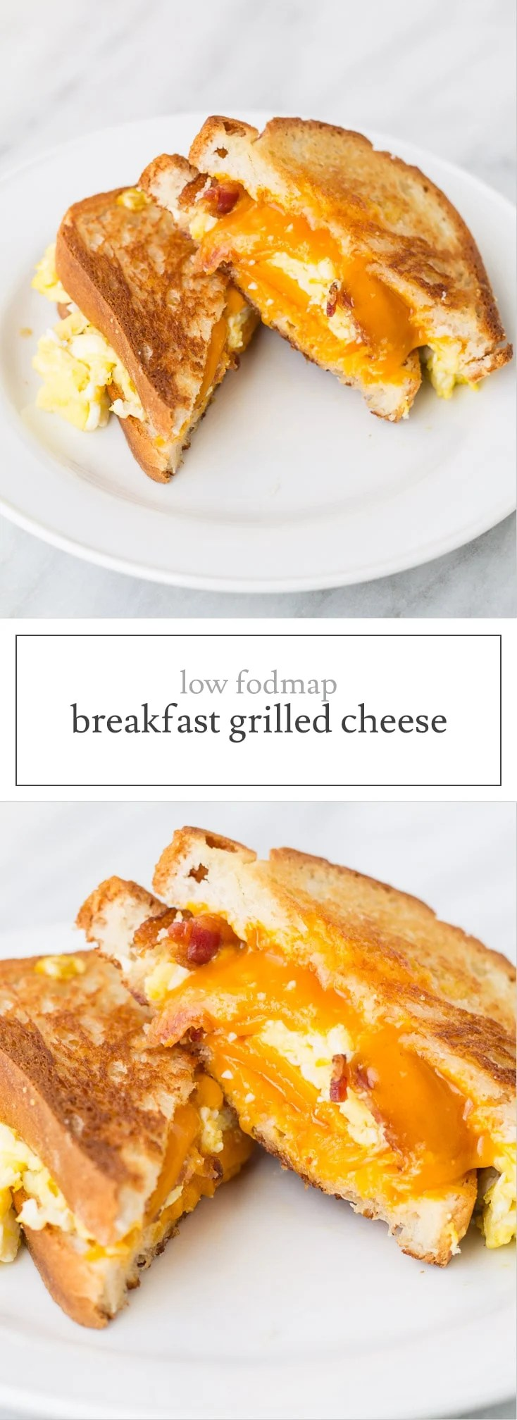 Breakfast sandwich meets grilled cheese in this quick and yummy Low FODMAP Breakfast Grilled Cheese recipe. It's also gluten free!