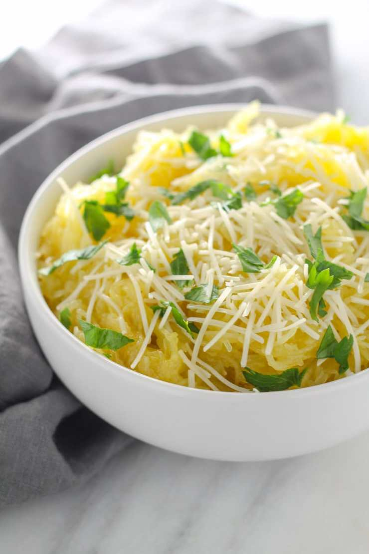 Savory Low FODMAP Spaghetti Squash with Pecorino Romano is a yummy, fall-inspired side dish with only a handful of ingredients.