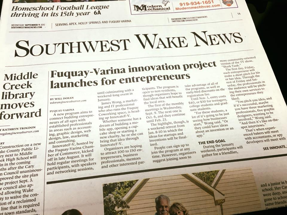 Innovate Fuquay-Varina Featured in South Wake News