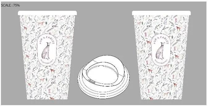 Dog and wellie print reusable mug design