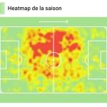 Carte de chaleur d'Ivan Rakitic (Sevilla FC). 20/21 (Sofascore)