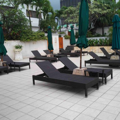 Synthetic rattan loungers