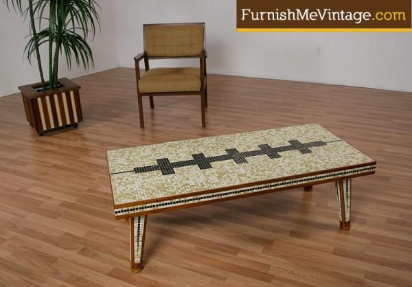 vintage mosaic tile top teak coffee table