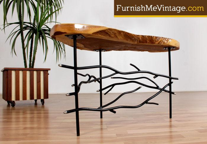 funktionhouse wood slab and steel end table
