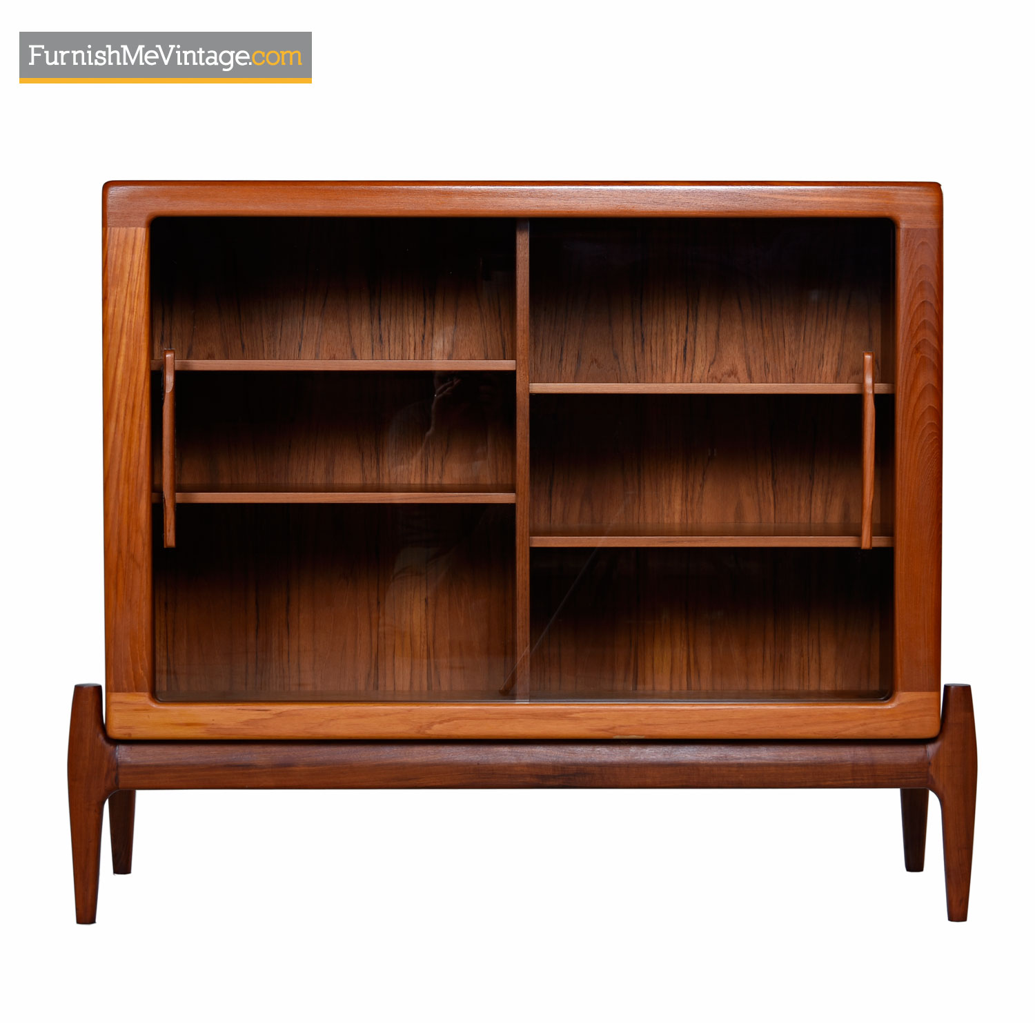 Danish Modern Sliding Glass Door Hutch Cabinet Bookcase