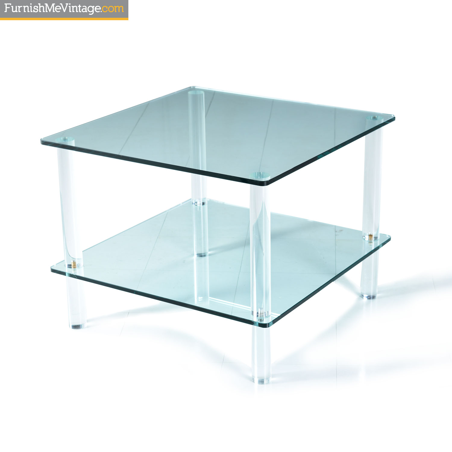 vintage 1970s two tier glass and lucite square end table