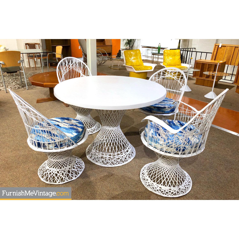 russell woodard vintage mid century modern spun fiberglass patio set