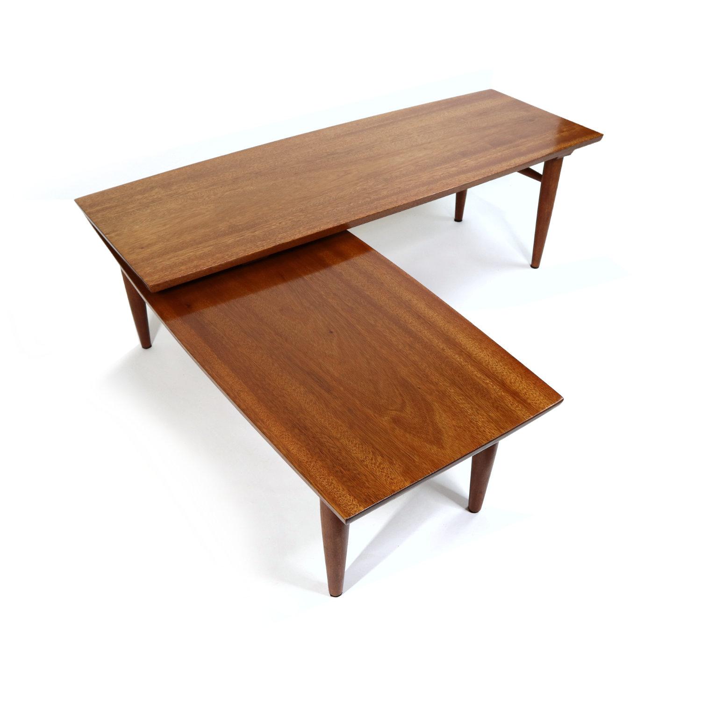 refinished mahogany mid century modern pivoting boomerang swivel coffee table