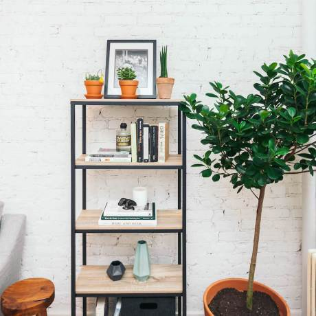 Styled bookcase with tree and white brick wall