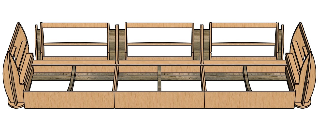 three-dimensional model of the sofa frame