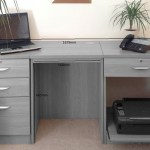 Small Office Desk Set With 3 1 Drawers Printer Shelf White Furniture At Work