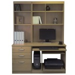Small Office Desk Set With 3 Drawers Computer Workstation Hutch Bookcases English Oak Furniture At Work