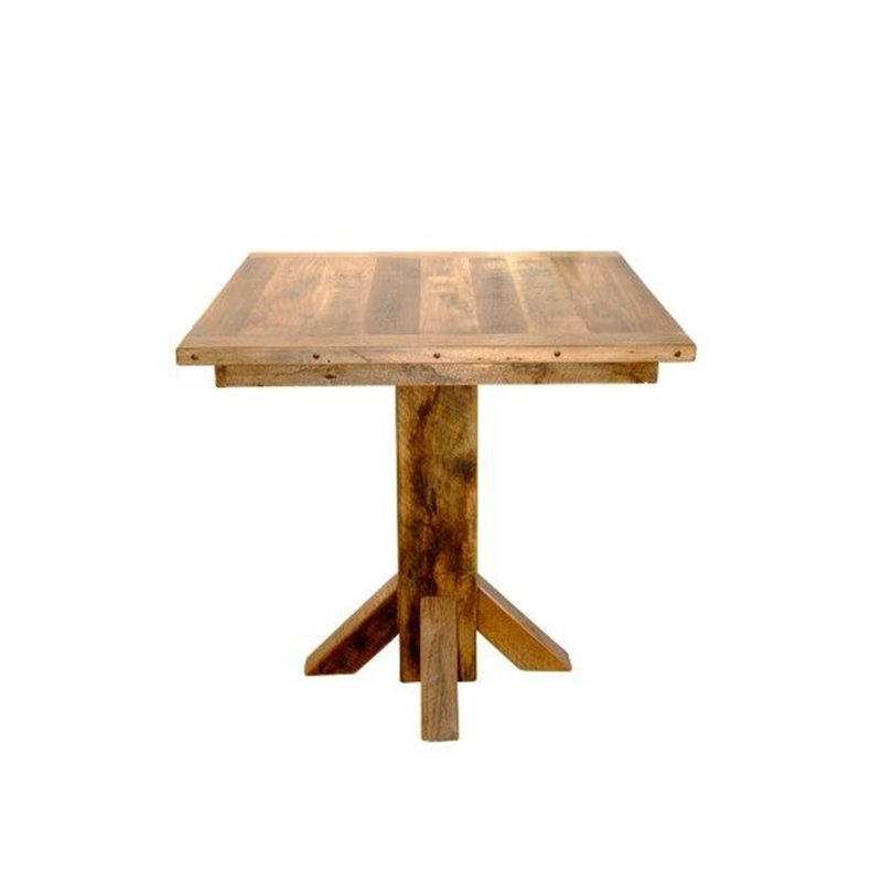 Rustic Reclaimed Barn Wood Pedestal Pub Table With 4