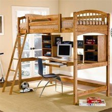 Workstation Twin Bunk Bed (Oak)