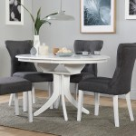 Hudson Round White Extending Dining Table With 4 Bewley Slate Fabric Chairs Furniture Choice