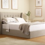 Kenley Oatmeal Fabric Ottoman Storage Bed King Size Furniture Choice