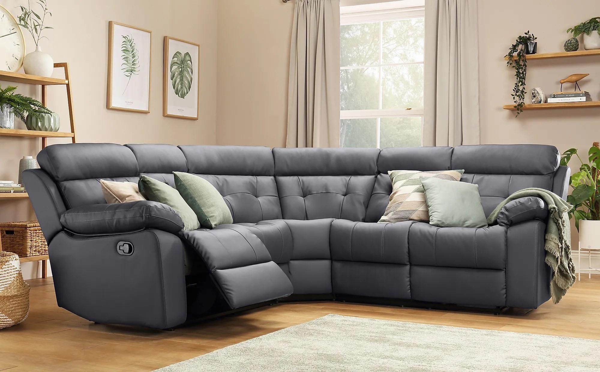 Grosvenor Grey Leather Recliner Corner Sofa Furniture Choice