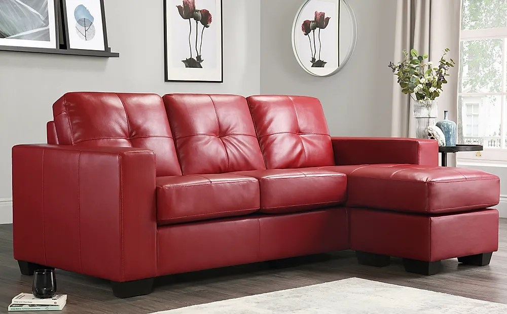rio red leather l shape corner sofa furniture and choice
