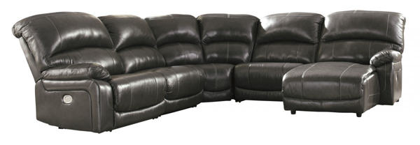 hallstrung gray leather 5 piece power reclining sectional