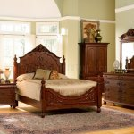 Cherry Finish Classic Antique Style Bedroom With Carving Details