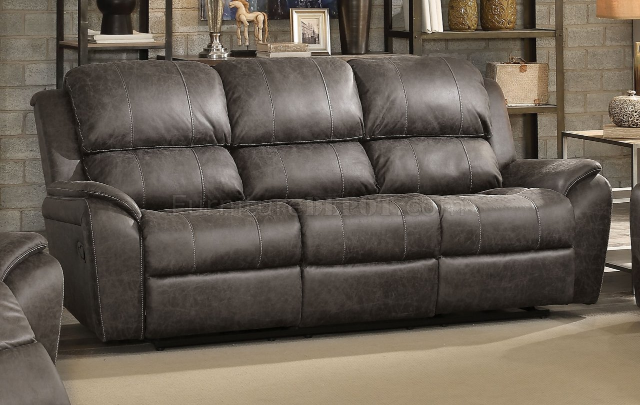 Barnaby Motion Sofa 52880 In Gray Polished Microfiber By Acme