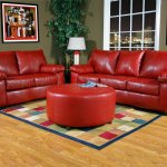 Red Leather Look Fabric Modern Sofa Loveseat Set W Options
