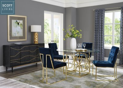 Evianna 5Pc Dining Set 191961 In Brass Scott Living By Coaster